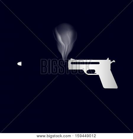 Simple Silver Smoking Hand Gun And Shoot Bullet Eps10