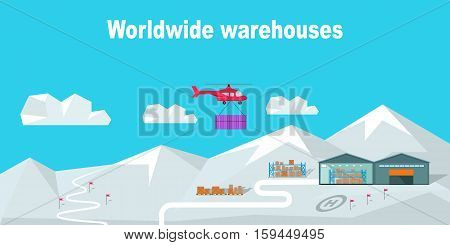 Worldwide warehouse deliver to North Pole. Logistics container shipping and distribution. Transportation through mountains and snow. Loading and unloading boxes. Part of series of worldwide delivery