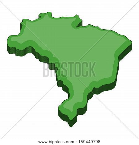 Green map of Brazil icon. Cartoon illustration of map of Brazil vector icon for web