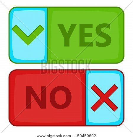 Yes and No button icon. Cartoon illustration of Yes and No button vector icon for web