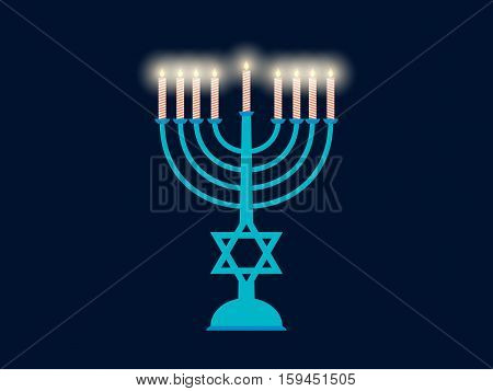 Happy Hanukkah. Hanukkah Candles Flat Design. Vector Illustration.