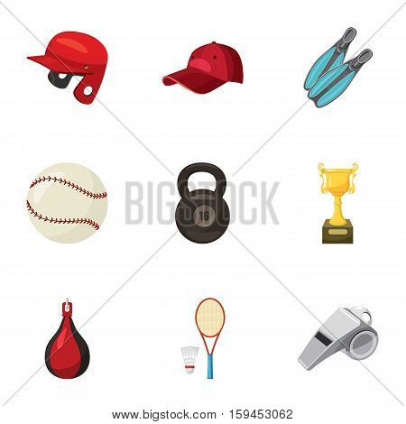 Sport exercise icons set. Cartoon illustration of 9 sport exercise in gym vector icons for web