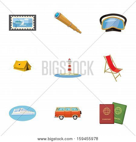 Journey to sea icons set. Cartoon illustration of 9 journey to sea vector icons for web