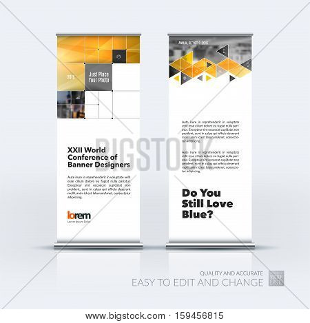 Business vector set of modern roll Up Banner stand design with yellow rectangular shapes, triangles, squares, lines, rounds for IT, business, building. Exhibition, fair, show. Abstract creative art.
