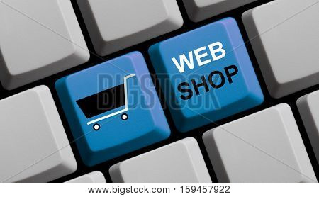 Blue computer keyboard with symbol showing Webshop