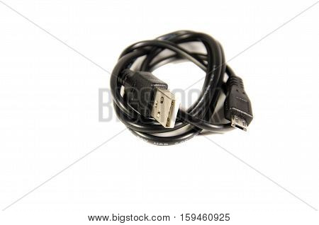 Mini usb cable isolated on white background