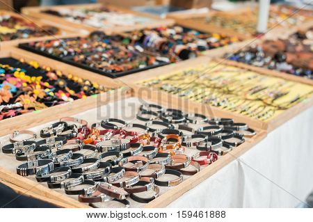 Selective Focus On Leather Bracelets. Jewellery Display Stand.