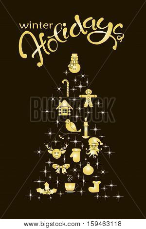 Typography banner with stylized gold Christmas tree and hand drawing lettering Happy Holidays on black stock vector illustration
