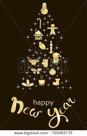 Typography banner with stylized gold Christmas tree and hand drawing lettering Happy New Year on black stock vector illustration