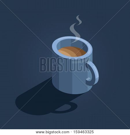 blue cup of coffee on navy background isometric