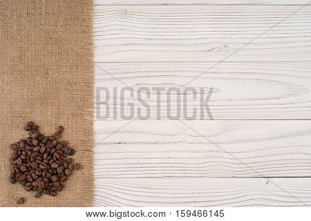 Coffee on the white old wooden table. Top view.