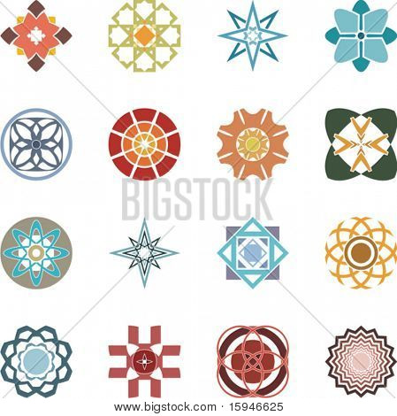 A set of 16 colorful decorative designs and dingbats, vector series.