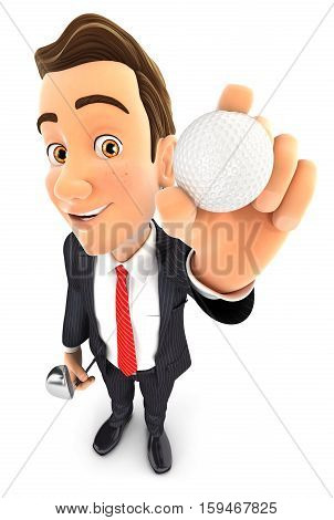 3d businessman holding golf ball illustration with isolated white background