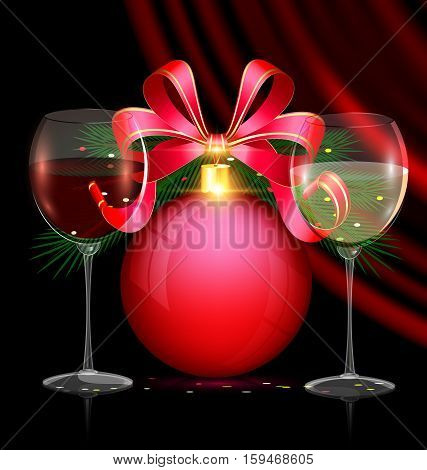 dark festive background with the large red balldark vinous drape and couple glasses of wine
