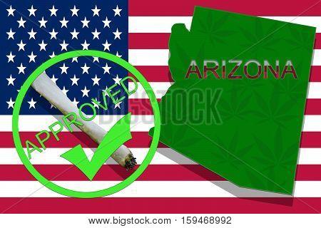 Arizona On Cannabis Background. Drug Policy. Legalization Of Marijuana On Usa Flag,