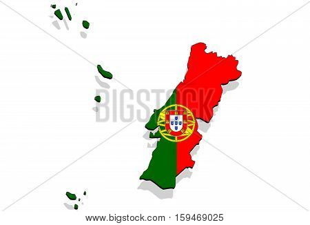 Close Up On Portugal Map On White Background