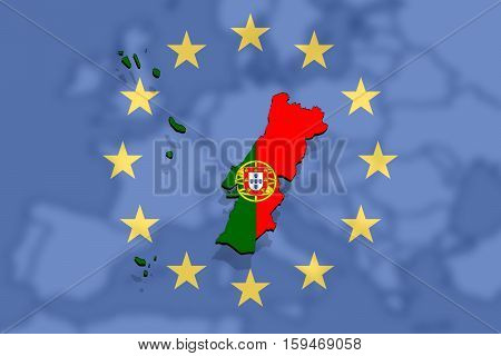 Close Up On Portugal Map On Euro Union And Europe Backgound