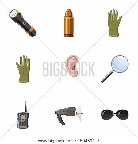 Surveillance icons set. Cartoon illustration of 9 surveillance vector icons for web