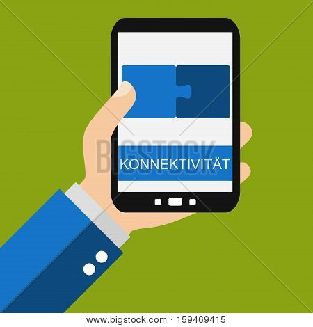 Hand holding Smartphone: Connectivity in german language - Flat Design