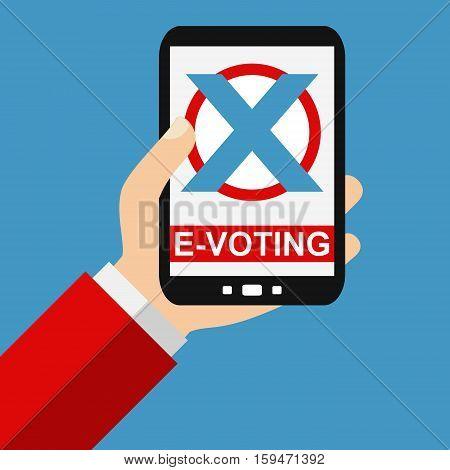 Hand holding Smartphone: E-Voting - Flat Design