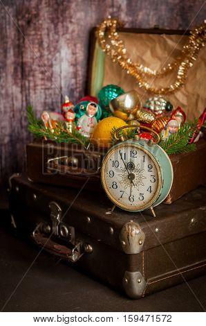 Retro Clock, Suitcases, Christmas Tree Decorations