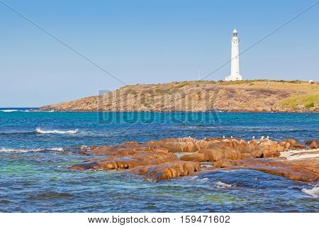 Cape Leeuwin Lighthouse at the south-western tip of Australia where two oceans meet.