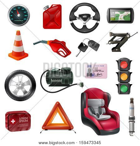 Car maintenance set of different auto accessories and equipment on white background isolated vector illustration