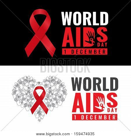 Red ribbon sign and world aids day text and hand banner vector design