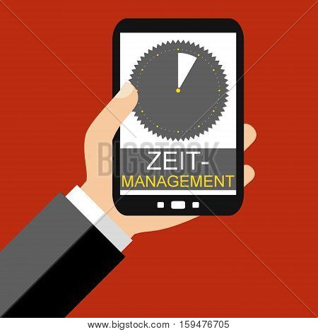 Hand holding Smartphone: Time Management in german language - Flat Design