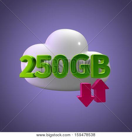 3D Rendering Cloud Data Upload Download illustration 250 GB Capacity