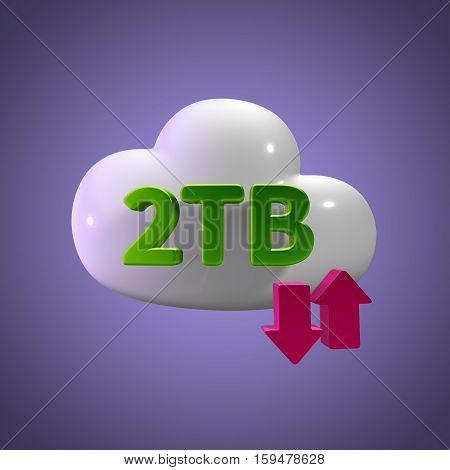3D Rendering Cloud Data Upload Download illustration 2 TB Capacity