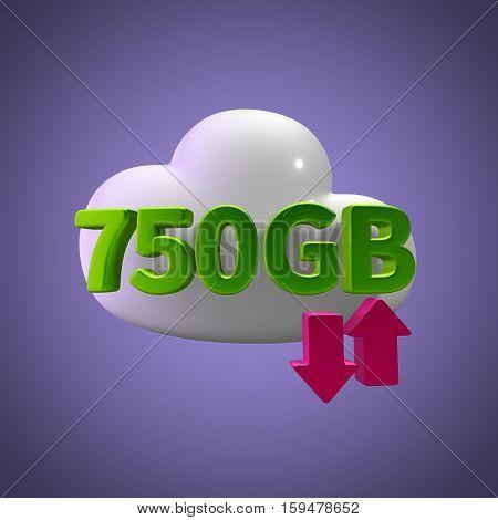 3D Rendering Cloud Data Upload Download illustration 750 GB Capacity
