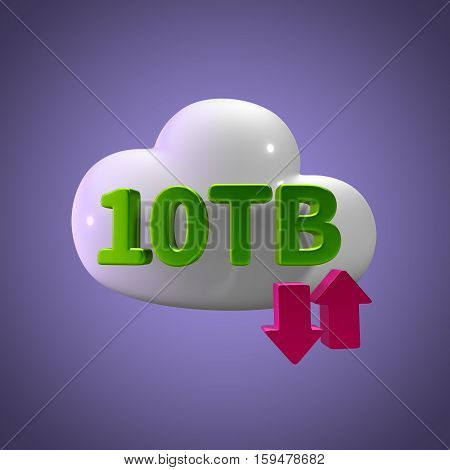 3D Rendering Cloud Data Upload Download illustration 10 TB Capacity