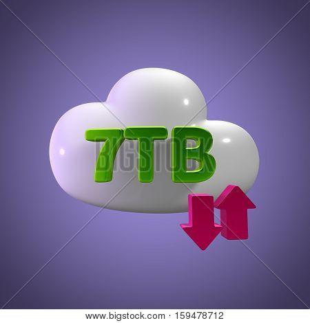 3D Rendering Cloud Data Upload Download illustration 7 TB Capacity