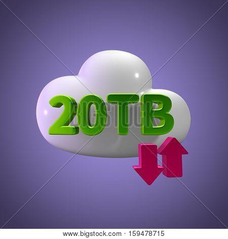 3D Rendering Cloud Data Upload Download illustration 20 TB Capacity