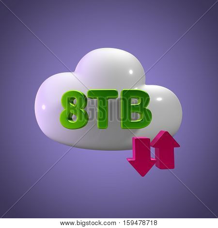 3D Rendering Cloud Data Upload Download illustration 8 TB Capacity