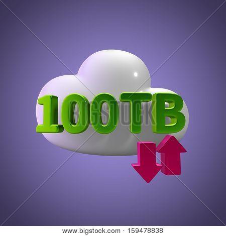 3D Rendering Cloud Data Upload Download illustration 100 TB Capacity