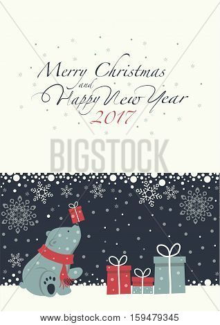 The cover design. Depicts a seated little polar bear with gift box on the nose. Polar bear with the  red scarf.  Phrase merry Christmas and a happy New year on blue background on the white background.