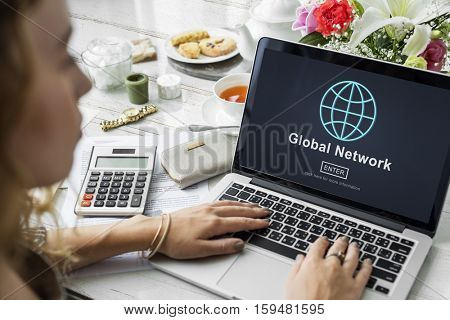 Global Network Communication Connection Concept