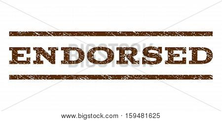 Endorsed watermark stamp. Text caption between horizontal parallel lines with grunge design style. Rubber seal brown stamp with scratched texture. Vector ink imprint on a white background.