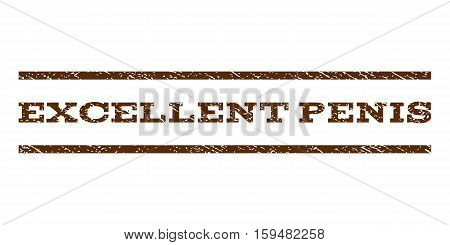 Excellent Penis watermark stamp. Text caption between horizontal parallel lines with grunge design style. Rubber seal brown stamp with unclean texture. Vector ink imprint on a white background.