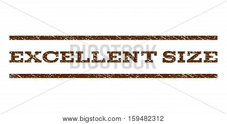 Excellent Size watermark stamp. Text tag between horizontal parallel lines with grunge design style. Rubber seal brown stamp with dirty texture. Vector ink imprint on a white background.