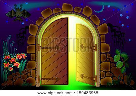 Illustration of fairyland fantasy gate, vector cartoon image.