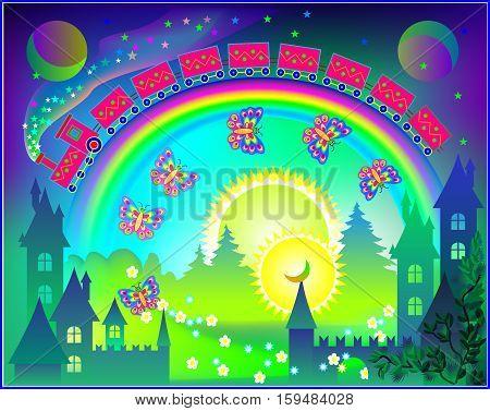 Fairyland fantasy kingdom with rainbow in the sky, vector cartoon image.