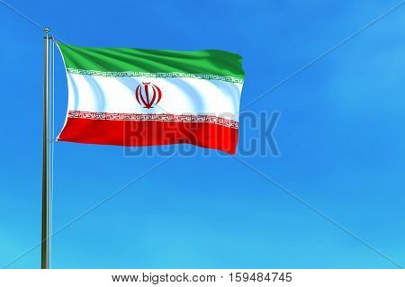 Flag of Iran on the blue sky background. 3D illustration