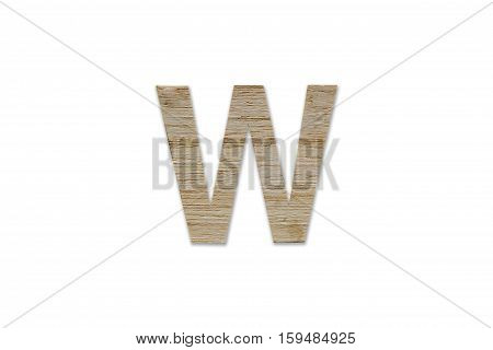 English Alphabet W Made From Wood Isolated On White Background