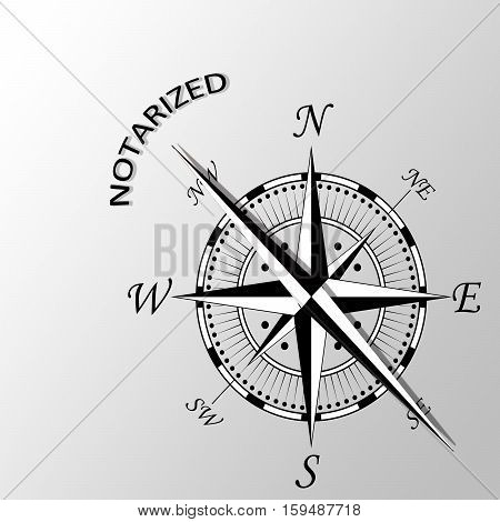 Illustration of Notarized word written aside compass