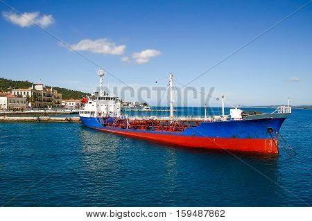 Old docked ship transfer water inn Spetses islandGreece