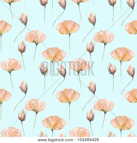 Seamless floral pattern with pink tender flowers hand drawn in watercolor on a mint background