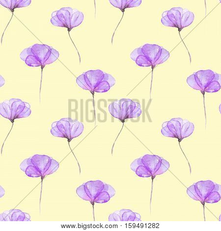 Seamless floral pattern with purple tender flowers hand drawn in watercolor on a yellow background